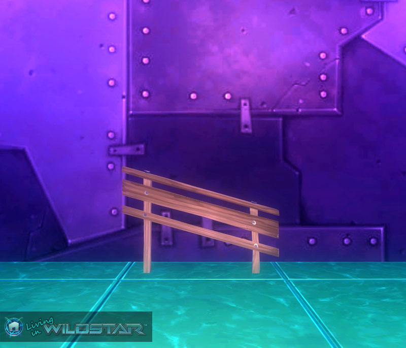 Wildstar Housing - Short Slanted Wooden Railing (Left)